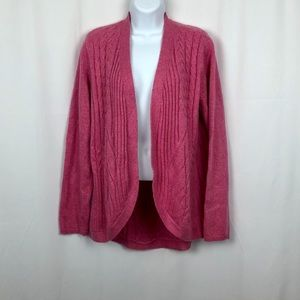 Talbots pink Cotton blend no button cardigan M